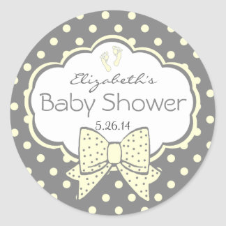 Yellow and Grey Polka Dots-Baby Shower Classic Round Sticker