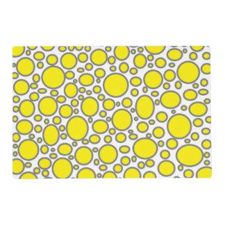 Yellow and Grey Polka Dots Laminated Placemat