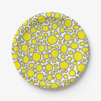 Yellow and Grey Polka Dots Paper Plates 7 Inch Paper PlateYellow And Gray Polka Dots