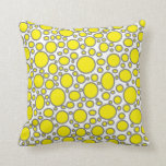 Yellow and Grey Polka Dots Pillow