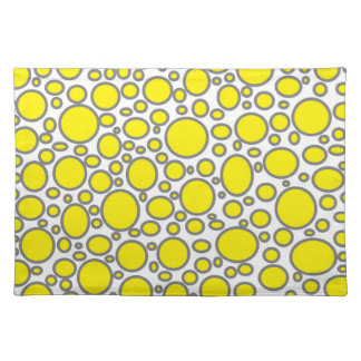 Yellow and Grey Polka Dots Placemat Cloth Placemat