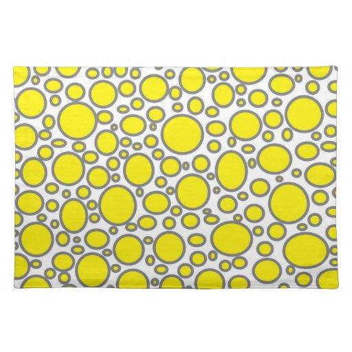 Yellow and Grey Polka Dots Placemat Cloth Place MatYellow And Gray Polka Dots