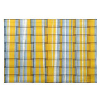 Yellow and grey retro stripes graphic design cloth placemat