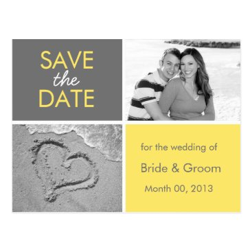 Beach Themed Yellow and Grey Save the Date Photo Postcards