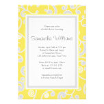 Yellow and Grey Scroll Bridal Shower Personalized Announcement