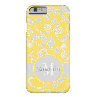 Yellow and Grey Scroll Design Custom Monogram Barely There iPhone 6 Case