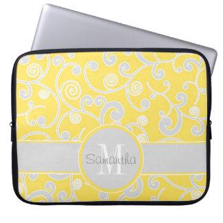 Yellow and Grey Scroll Design Custom Monogram Computer Sleeve
