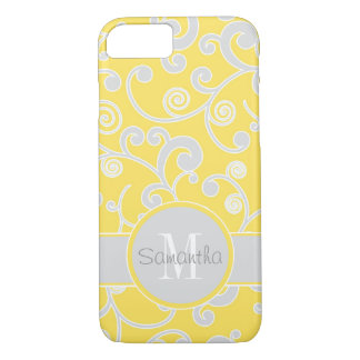Yellow and Grey Scroll Design Custom Monogram iPhone 8/7 Case