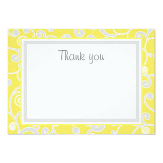 Yellow and Grey Scroll Flat Thank You Card