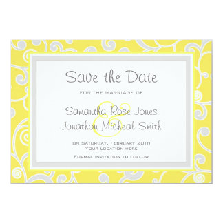 Yellow and Grey Scroll Save the Date Card