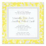 Yellow and Grey Scroll Square Wedding Invitation
