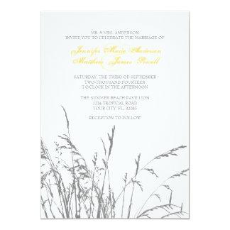 Yellow and Grey Sea Grass Beach Wedding Invitation