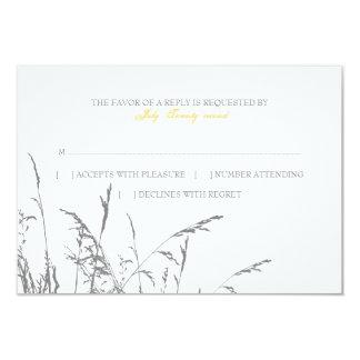 Yellow and Grey Sea Grass Beach Wedding rsvp 3.5x5 Paper Invitation Card