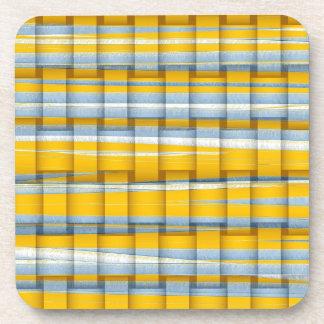 Yellow and grey stripe wicker retro graphic design coasters