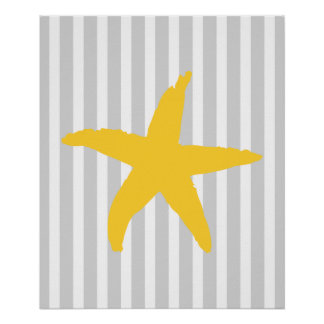 Yellow and Grey Striped Nautical Sea Star Poster
