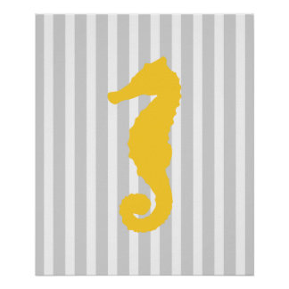 Yellow and Grey Striped Nautical Seahorse Poster