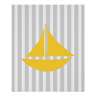 Yellow and Grey Striped Nautical Ship Poster