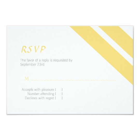 Yellow and Grey Striped Response Card