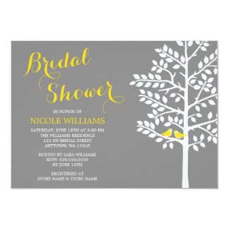 Yellow and Grey Tree Love Birds Bridal Shower Card