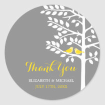 Yellow and Grey Tree Love Birds Wedding Thank You Classic Round Sticker