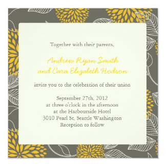 Yellow and Grey Vintage Floral Wedding invite