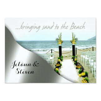 Yellow and Grey Wedding on the Beach Card