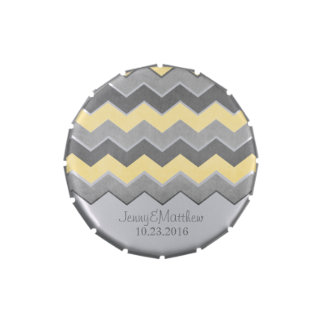 Yellow and Grey Zig Zag Pattern Candy Tins