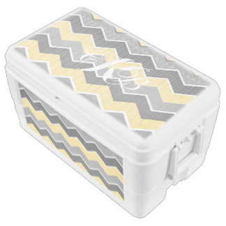 Yellow and Grey Zig Zag Pattern Chest Cooler