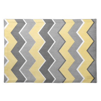Yellow and Grey Zig Zag Pattern Cloth Placemat