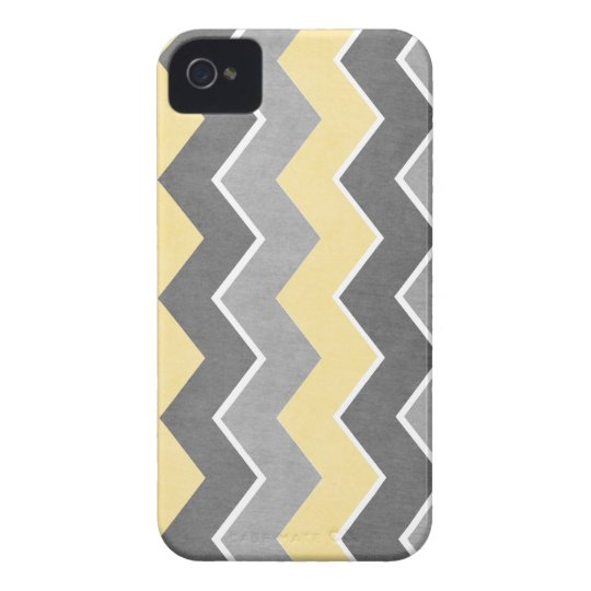 Yellow and Grey Zig Zag Pattern iPhone 4 Cover