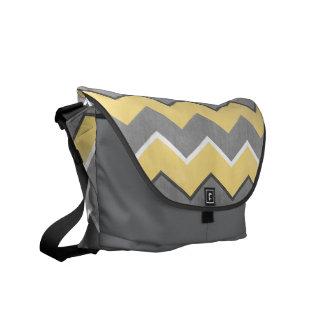 Yellow and Grey Zig Zag Pattern Messenger Bag