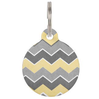 Yellow and Grey Zig Zag Pattern Pet Name Tag