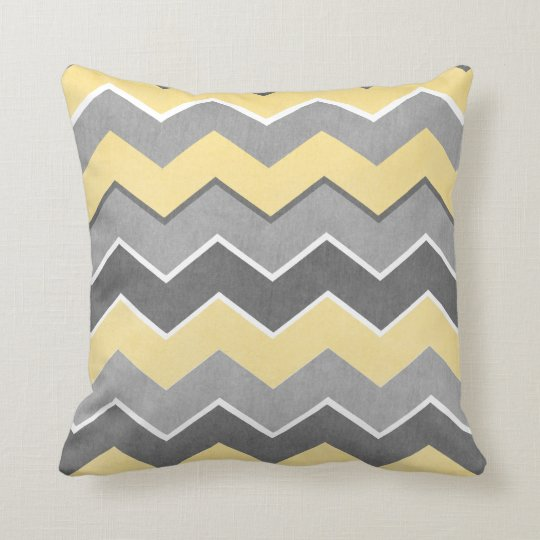 Yellow and Grey Zig Zag Pattern Throw Pillow
