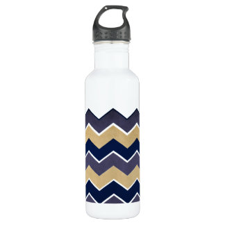 Yellow and Grey Zig Zag Pattern Water Bottle