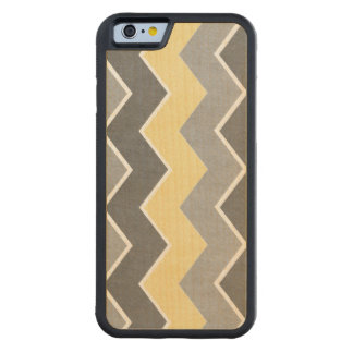 Yellow and Grey Zig Zag Pattern Carved® Maple iPhone 6 Bumper