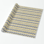 Yellow and Grey Zig Zag Pattern Wrapping Paper