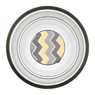 Yellow and Grey Zig Zag Pattern Pet Bowl