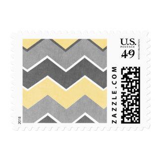 Yellow and Grey Zig Zag Wedding Postage Stamp