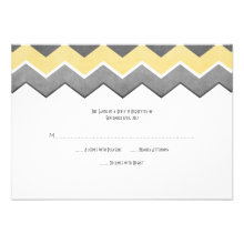Yellow and Grey Zig Zag Wedding RSVP Announcements