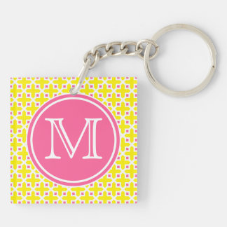 Yellow and Hot Pink Cross Pattern Monogram Double-Sided Square Acrylic Keychain