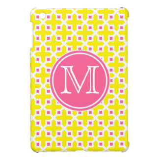 Yellow and Hot Pink Cross Pattern Monogram iPad Mini Cover