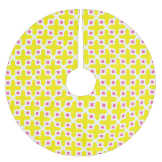Yellow and Hot Pink Cross Section Pattern Brushed Polyester Tree Skirt