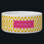 "Yellow and Hot Pink Trellis Monogram Bowl<br><div class=""desc"">Cute customized cat or dog food bowl with a yellow imperial trellis pattern and rectangle frame placeholder for your beloved pet&#39;s name.</div>"