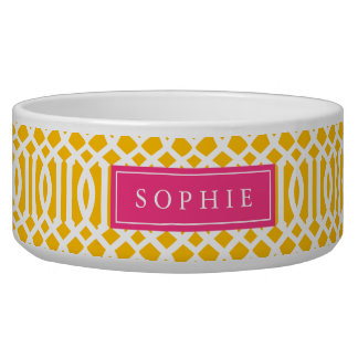 Yellow and Hot Pink Trellis Monogram Bowl