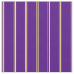 [ Thumbnail: Yellow and Indigo Colored Stripes/Lines Pattern Fabric ]