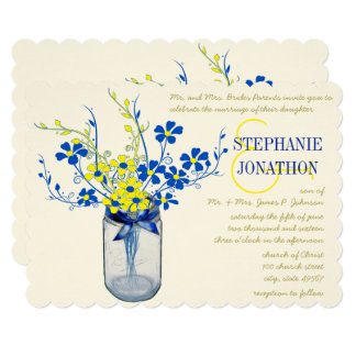 Yellow and Lapis Blue Mason Jar Wildflower Wedding Card