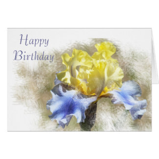 Yellow and Lavender Iris Card