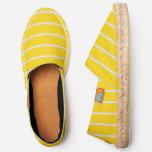 [ Thumbnail: Yellow and Lavender Stripes Pattern Espadrilles ]