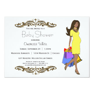 Yellow And Leopard Print African American Mommy 5x7 Paper Invitation Card