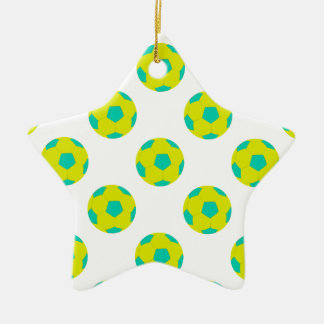 Yellow and Light Blue Soccer Ball Pattern Ceramic Ornament